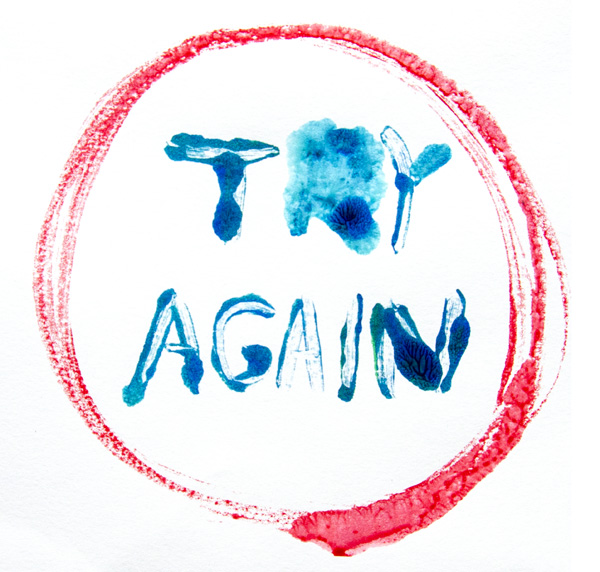 Art by Camilla Lekebjer. Monoprint: Try again