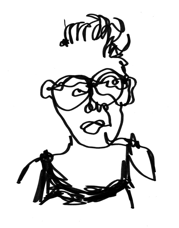 Art by Camilla Lekebjer. Drawing: 1 minute self-portrait not looking at the paper