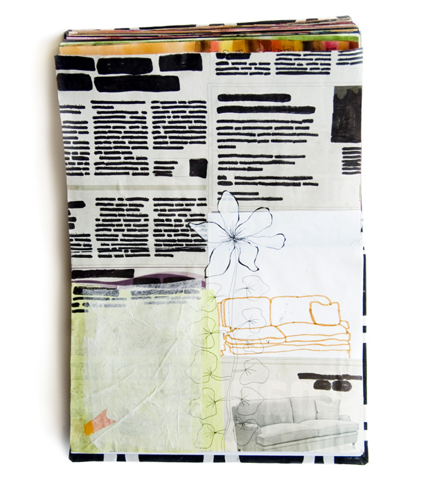 Art by Camilla Lekebjer. Visual journal: Silencing the news
